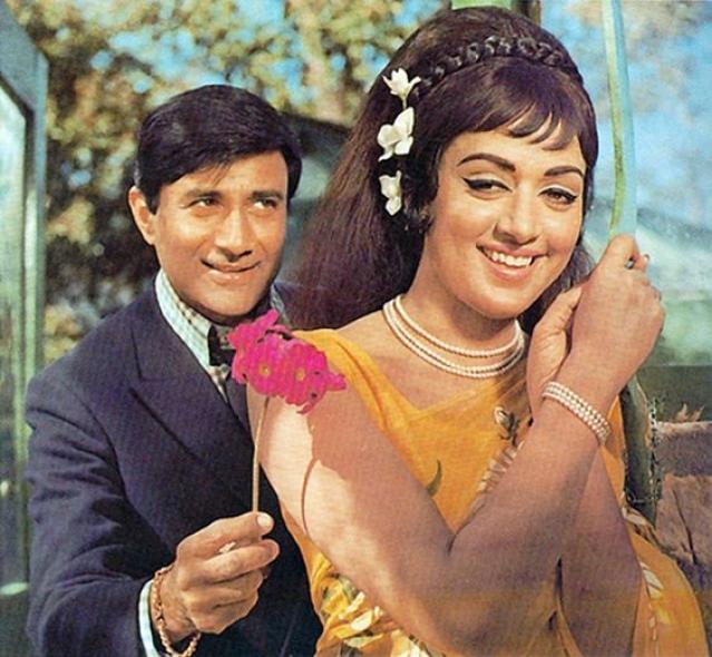 Dev Anand with Hema Malini.