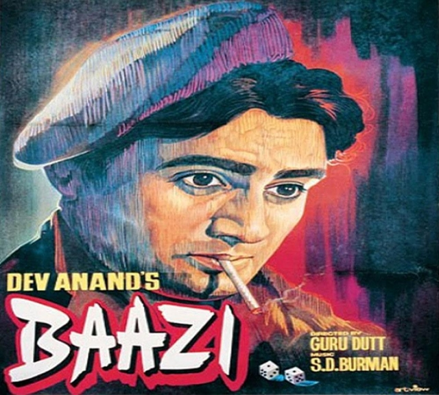 Dev Anand on the poster of <i>Baazi </i>directed by Guru Dutt.