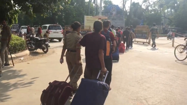 Students vacating the the hostel.