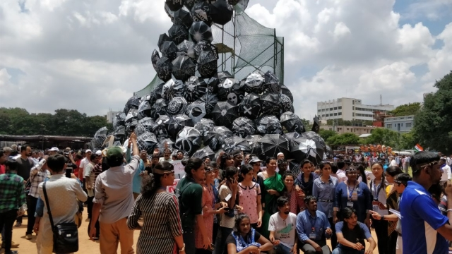 Mountain of umbrellas to symbolise a demand for justice
