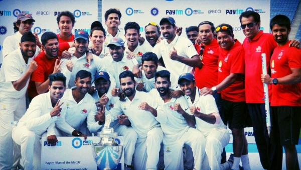 The Mumbai team pose with the Ranji Trophy in February 2016.