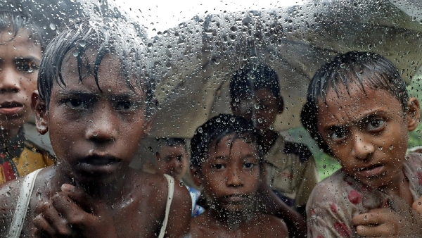 Rohingya refugee children pictured in a camp in Cox's Bazar, Bangladesh