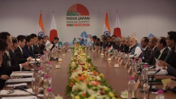 PM Narendra Modi and Japanese PM Shinzo Abe during delegation level talks at Mahatma Mandir in Gandhinagar.