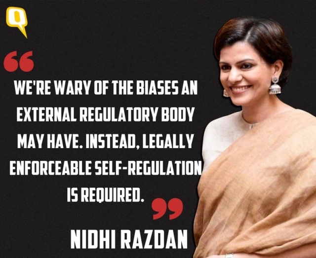 Nidhi Razdan warns against an external regulator.
