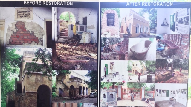 Before and after pictures of Kasturba Kutir.