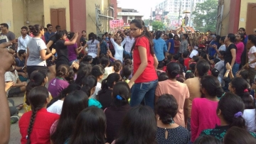 BHU students organise a protest march outside their university.