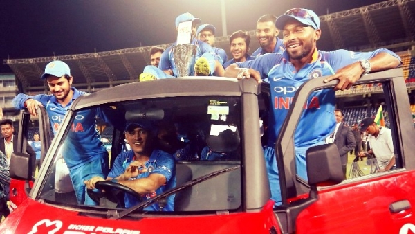 The Indian team celebrate after beating Sri Lanka 5-0 in the five-match ODI series.