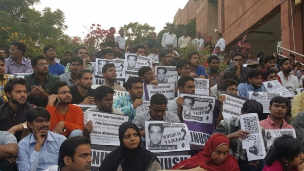 Students  gather outside the JNU's administrative block in support of missing student Najeeb Ahmed.