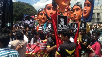 "Procession to protest killing of <a href=""https://twitter.com/Iamgauri_"">#GauriLankesh</a> in Anand Rao Circle, Bengaluru."