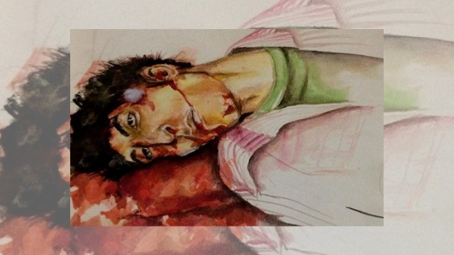 A painting of Tufail Matto who was killed by shell fired by a policeman in Shaher-e-Khaas in 2010.
