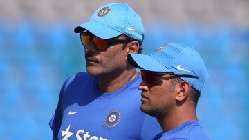 File photo of Ravi Shastri (L) and MS Dhoni (R).