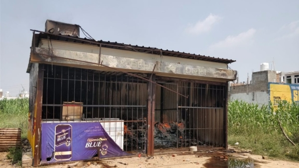 A liquor store located close to Gurugram's Ryan International School was torched by a mob protesting the death of a 7-year-old in the school.