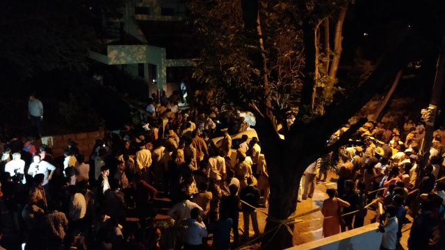 Crowd gathers outside Gauri Lankesh's residence.