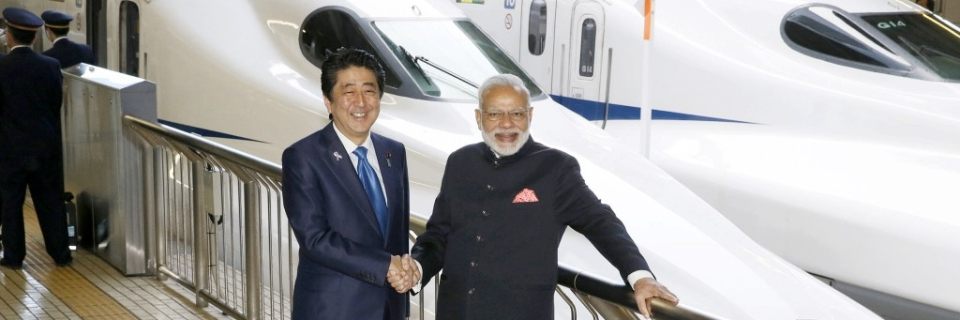 A 2016 photo of Prime Minister Narendra Modi and his Japanese counterpart Shinzo Abe posing in front of a Shinkansen bullet train in  Tokyo.