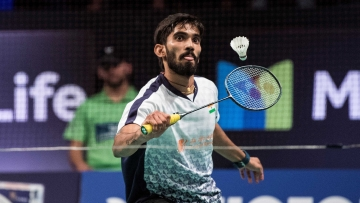 Kidambi Srikanth in action during the Denmark Open.