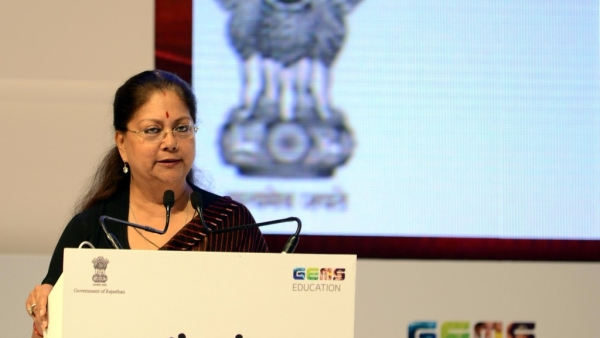 File Photo: Rajasthan Chief Minister Vasundhara Raje addresses at the Festival of Education in Jaipur on Aug 6, 2017.