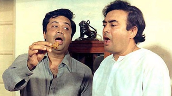 Deven Verma with Sanjeev Kumar in a still from <i>Angoor.</i>