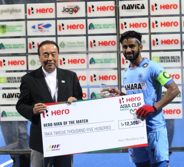 Captain Manpreet Singh was named Man of The Match