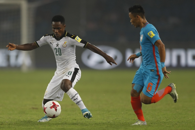 Ghana's Isaac Gyamfi controls the ball during the FIFA U-17 World Cup against India.
