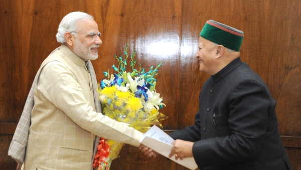 File photo of Himachal Chief Minister Virbhadra Singh with Prime Minister Narendra Modi.