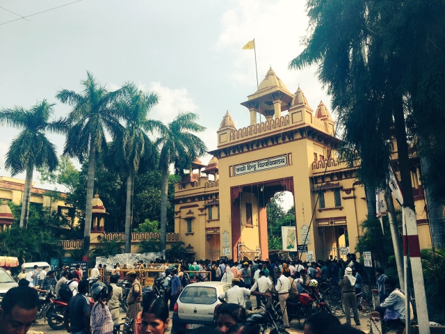 Hundreds of BHU students protesting at the 'Singh Dwar' – popularly known as the Lanka gate –- demanding security for girls in the campus.