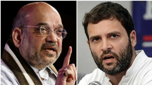 BJP President Amit Shah (left) and Congress chief Rahul Gandhi.
