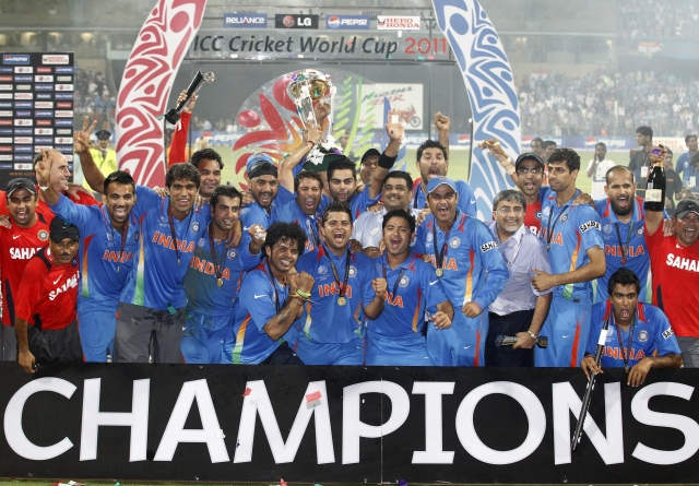 Ashish Nehra with the Indian 2011 World Cup winning team following the win over Sri Lanka in the final in Mumbai.