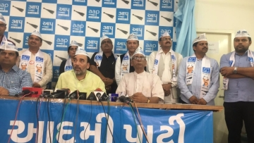 Aam Aadmi Party announces its candidates for Gujarat elections in Ahmedabad on Saturday.