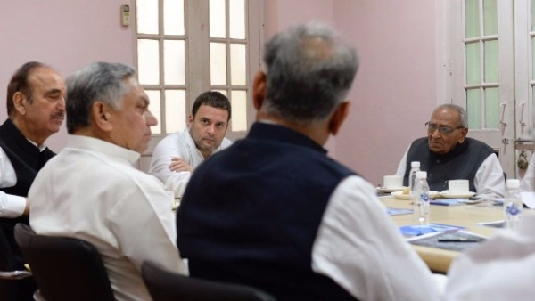 Rahul Gandhi chairs the meeting at the Delhi Congress headquarters.