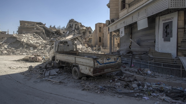 A heavily destroyed street in Raqqa, Syria.