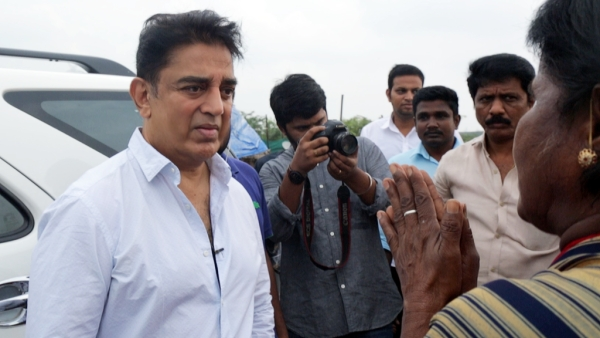 Kamal Haasan clicked during his visit to the Kosasthalai river by the Ennore creek.