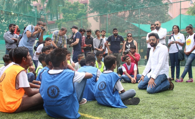 Abhishek Bachchan seen interacting with the children of St Andrews Turf Park, Bandra.