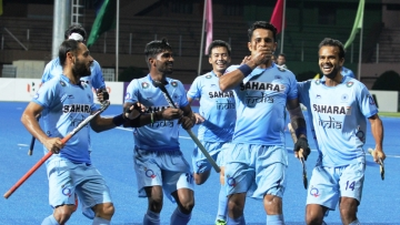 Harmanpreet Singh celebrates a goal against Pakistan in the Asia Cup