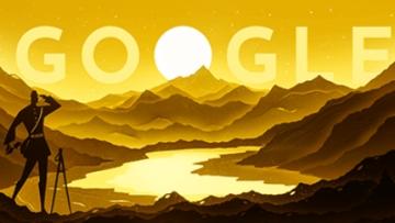 Google Doodle dedicated to Nain Singh Rawat on his 187th birth anniversary.