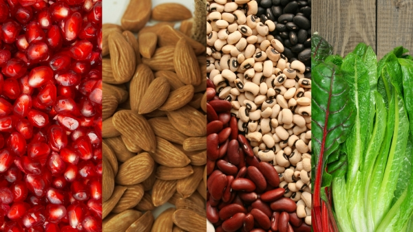 Iron rich foods (Left to Right) Pomegranate, Almonds, Legumes and Leafy Greens.