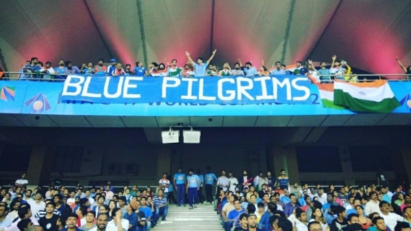 "The 'Blue Pilgrims' watching the India vs Ghana  match at FIFA U-17 World Cup, at JLN stadium in New Delhi. (Photo Courtesy: Twitter/<a href=""https://www.facebook.com/indiabluepilgrims/#"">@indiabluepilgrims</a>)"