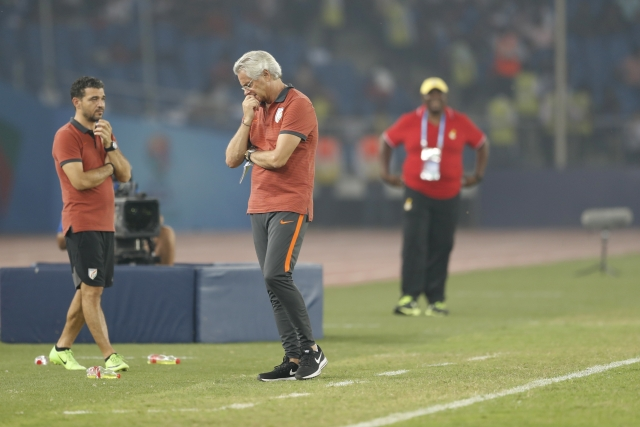 Luis Norton de Matos reacts during India's match against Ghana.