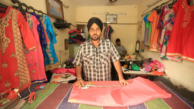 Bhupender Singh runs a tailoring shop in Tilak Vihar. His father was killed in 1984.