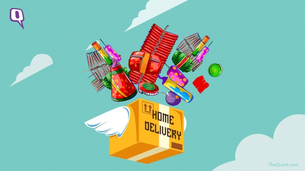 Magic Crackers works out of the URL fireworksindelhi.in. The words 'Free Home Delivery' stand out in bold yellow, inviting anybody looking for ways to get their hands on crackers this year.