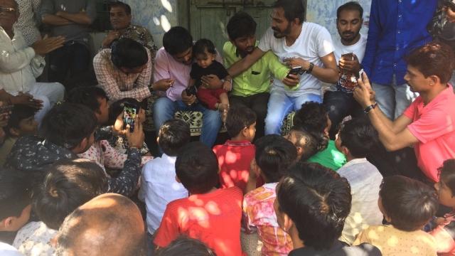 During a stop at Atkot village.