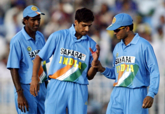 Ashish Nehra with skipper Sourav Ganguly during India's ODI series against Pakistan in Pakistan in 2004.