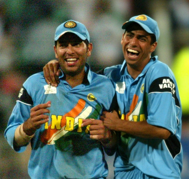 File photo of a young Yuvraj Singh and Ashish Nehra celebrating a victory
