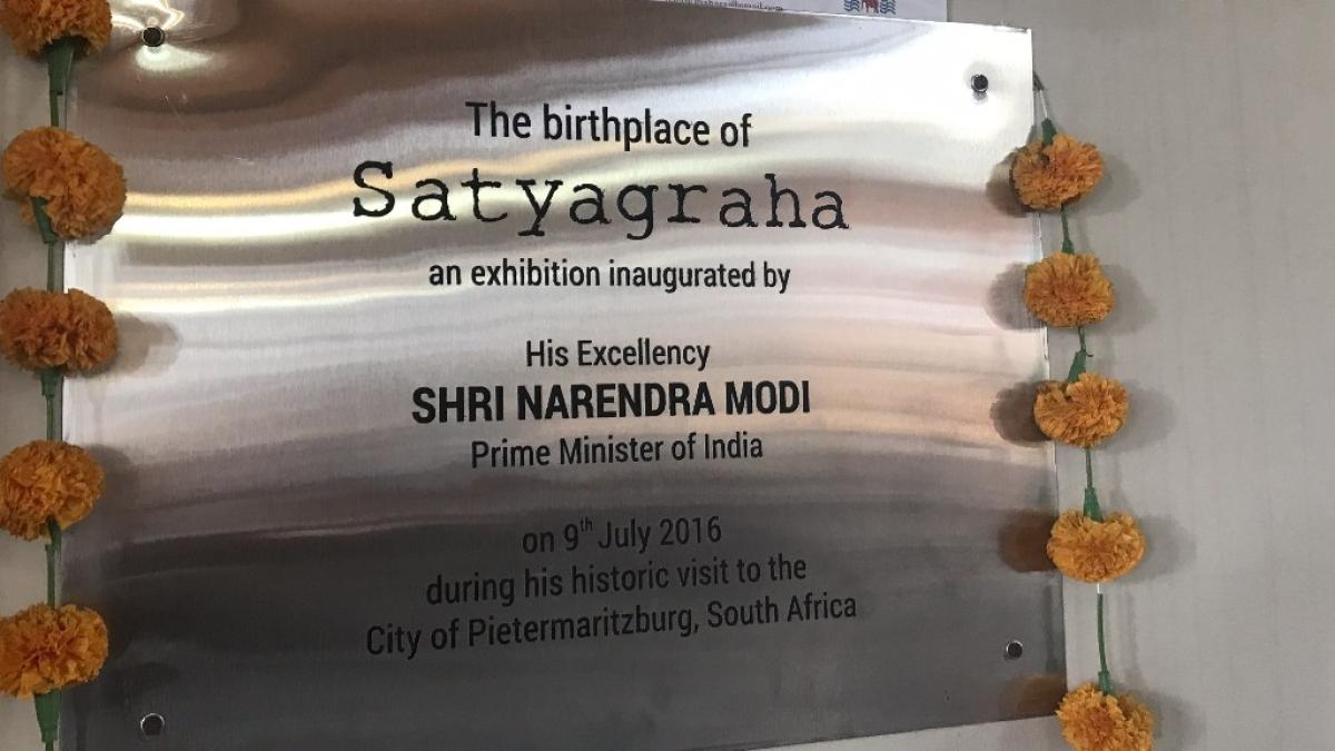 Plaque marking Prime Minister Narendra Modi's visit in 2016.