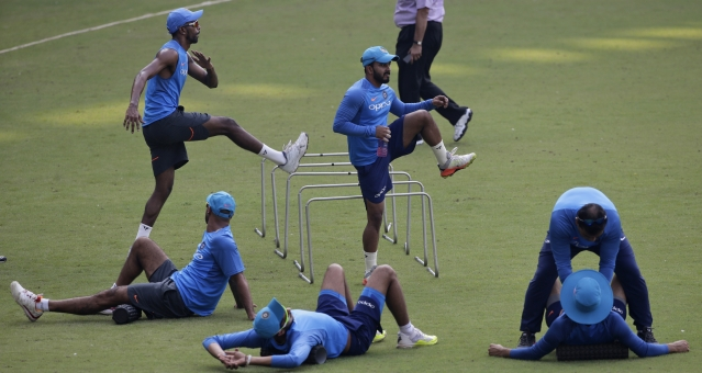 Indian cricketers attend a training session in Mumbai, India, Friday, Oct. 20, 2017. <a></a>