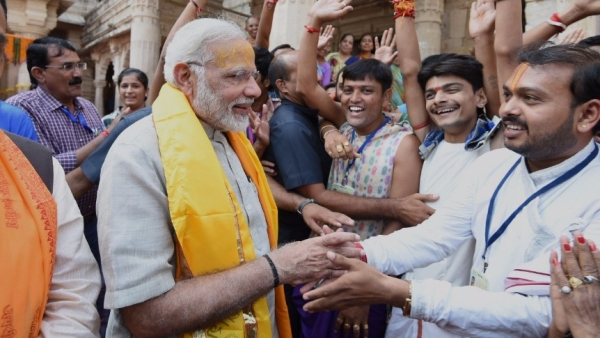 PM Narendra Modi addresses a rally in Dwarka, Gujarat