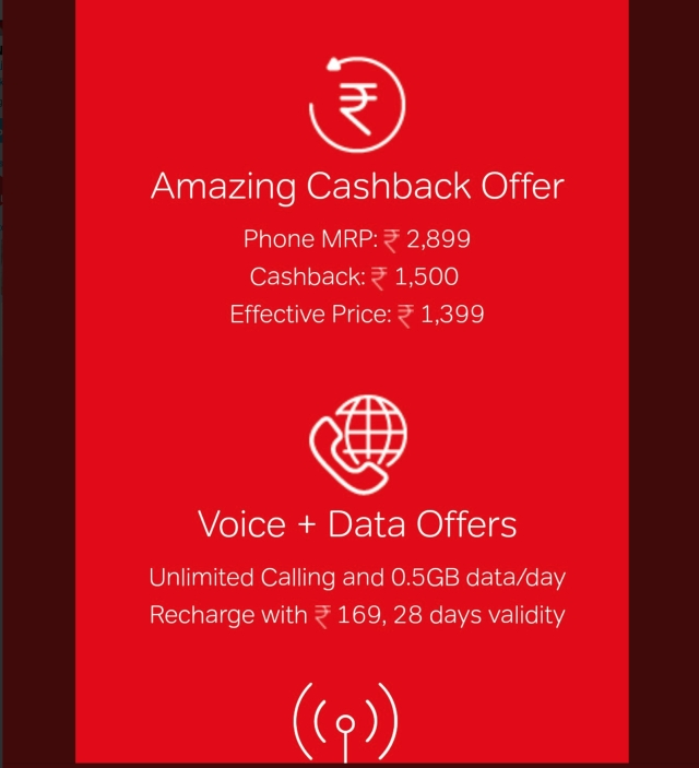 Cashback offer with the Karbonn A40 Indian