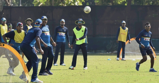 Kolkata: Sri Lankan cricketers play football during a practice esession at Salt Lake in Kolkata on Thursday.