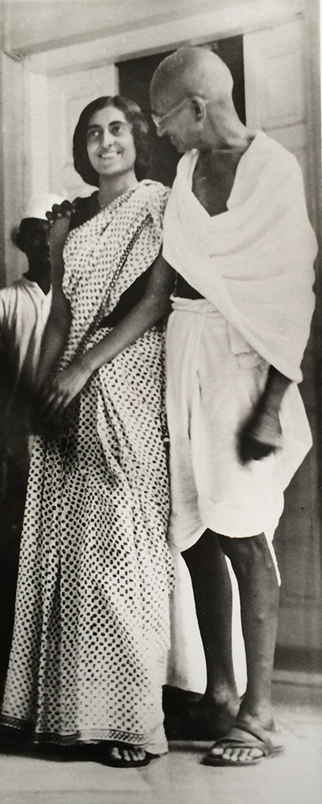 1935: Indira with Mahatma Gandhi in New Delhi during one of his visits to her family residence. 'Indu', as she was fondly known, was greatly influenced by Bapu from a very early age.