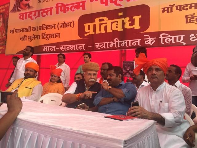 Karni Sena chief Lokendra Singh Kalvi led the protest held at Azad Maidan against the release of <i>Padmavati </i>(before it became <i>Padmaavat</i>).