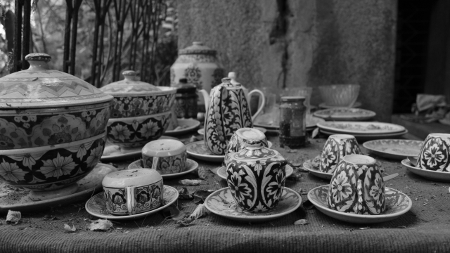 A neatly stacked tea set makes for a peculiar sight amid the disarray that is Malcha Mahal.